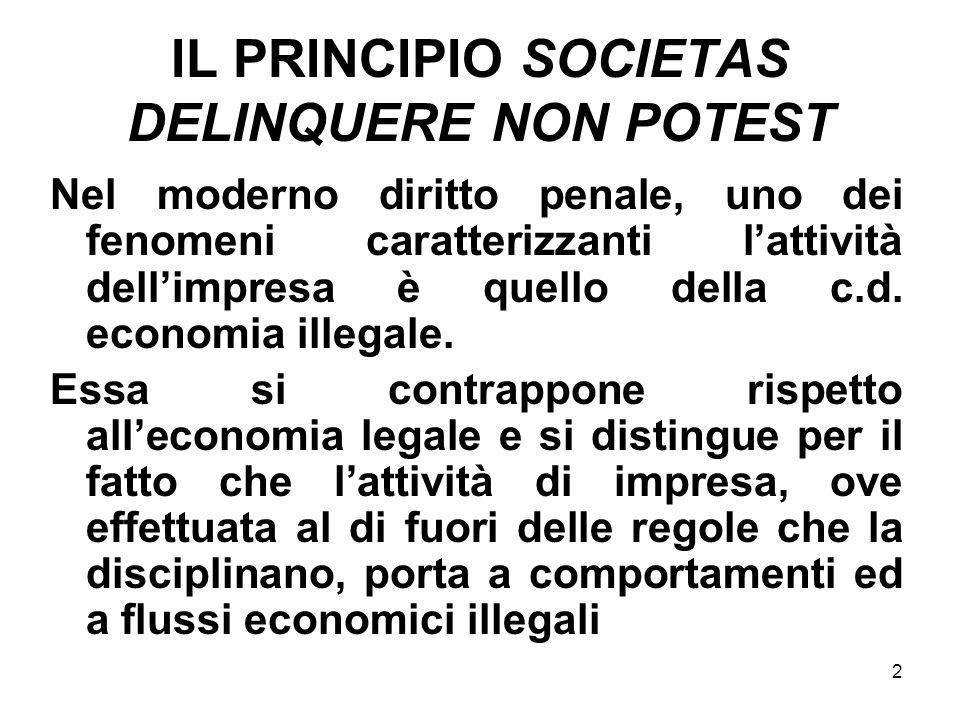 IL PRINCIPIO SOCIETAS DELINQUERE NON POTEST
