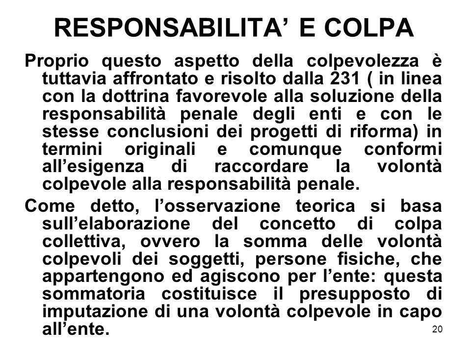 RESPONSABILITA' E COLPA