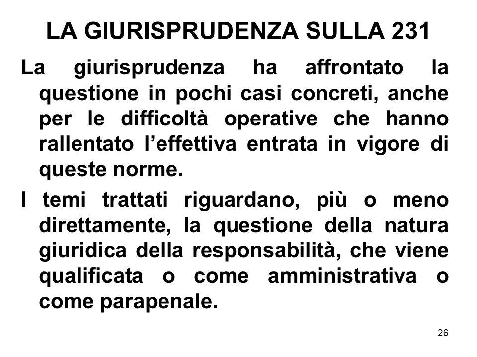 LA GIURISPRUDENZA SULLA 231