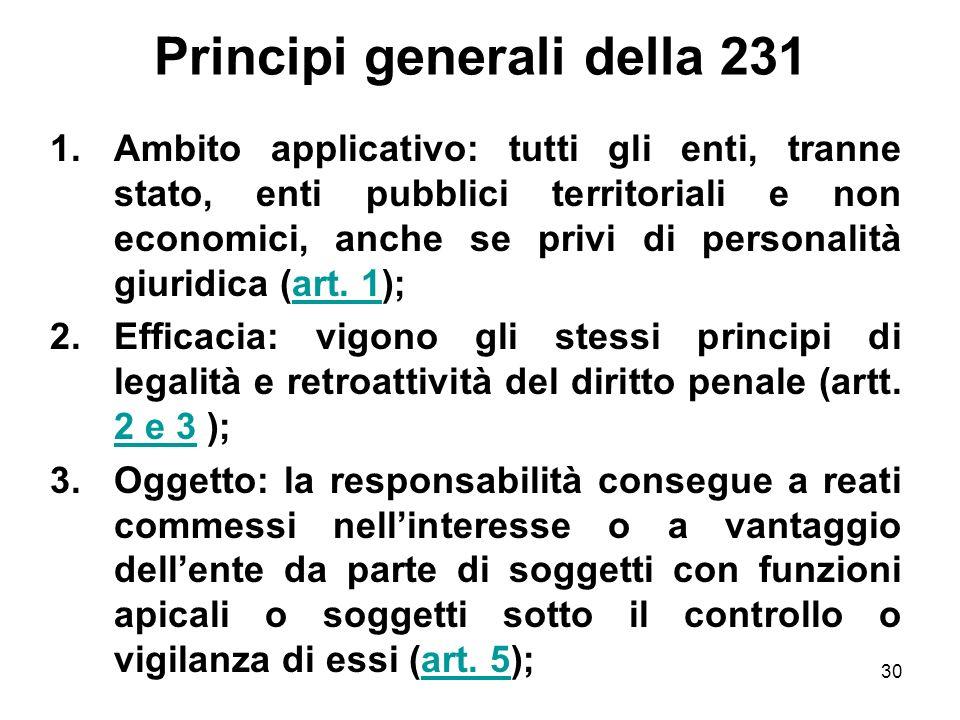 Principi generali della 231