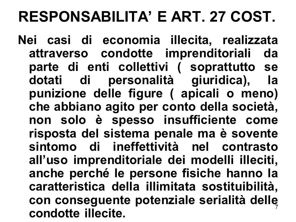 RESPONSABILITA' E ART. 27 COST.