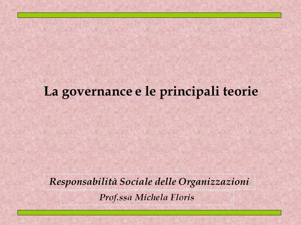 La governance e le principali teorie