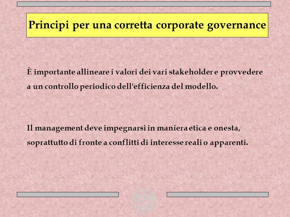 Principi per una corretta corporate governance