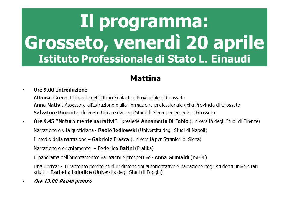 Il programma: Grosseto, venerdì 20 aprile Istituto Professionale di Stato L. Einaudi