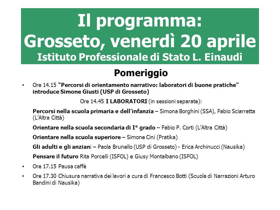 Ore 14.45 I LABORATORI (in sessioni separate):