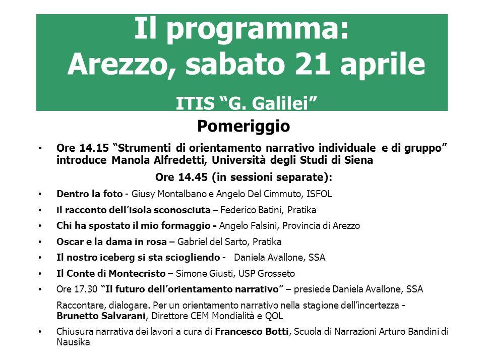 Il programma: Arezzo, sabato 21 aprile ITIS G. Galilei