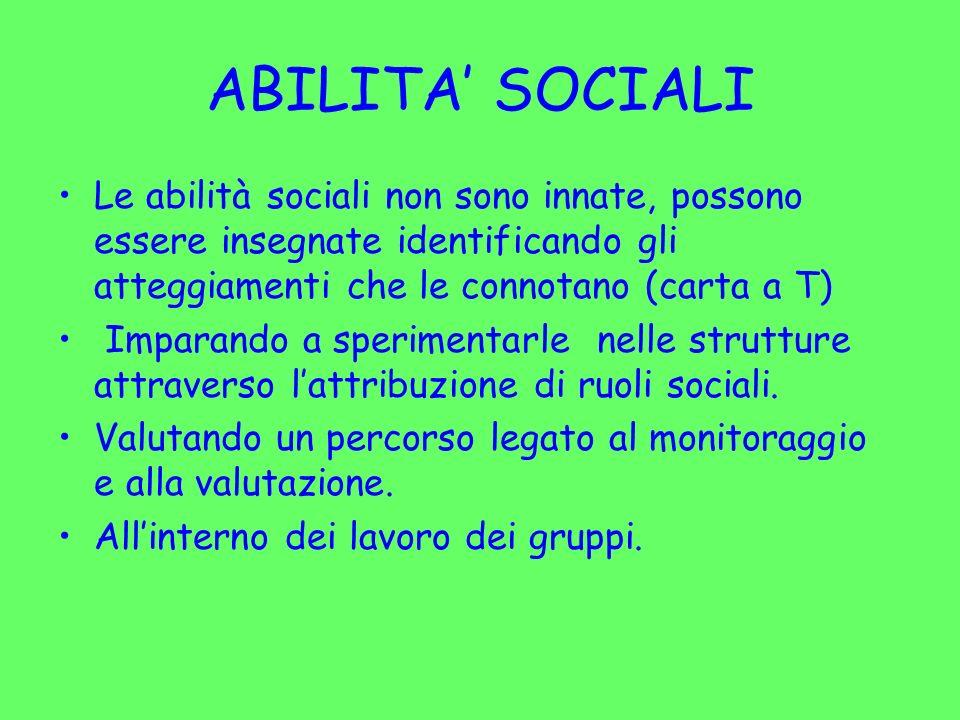 ABILITA' SOCIALI Le abilità sociali non sono innate, possono essere insegnate identificando gli atteggiamenti che le connotano (carta a T)