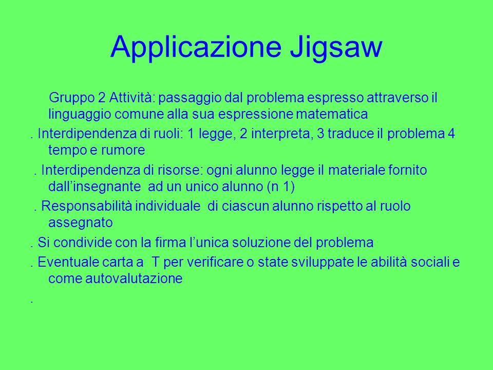 Applicazione Jigsaw Gruppo 2 Attività: passaggio dal problema espresso attraverso il linguaggio comune alla sua espressione matematica.