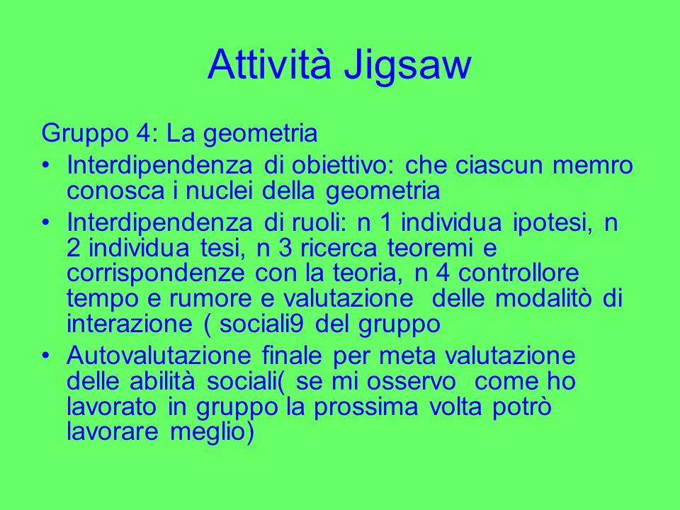Attività Jigsaw Gruppo 4: La geometria