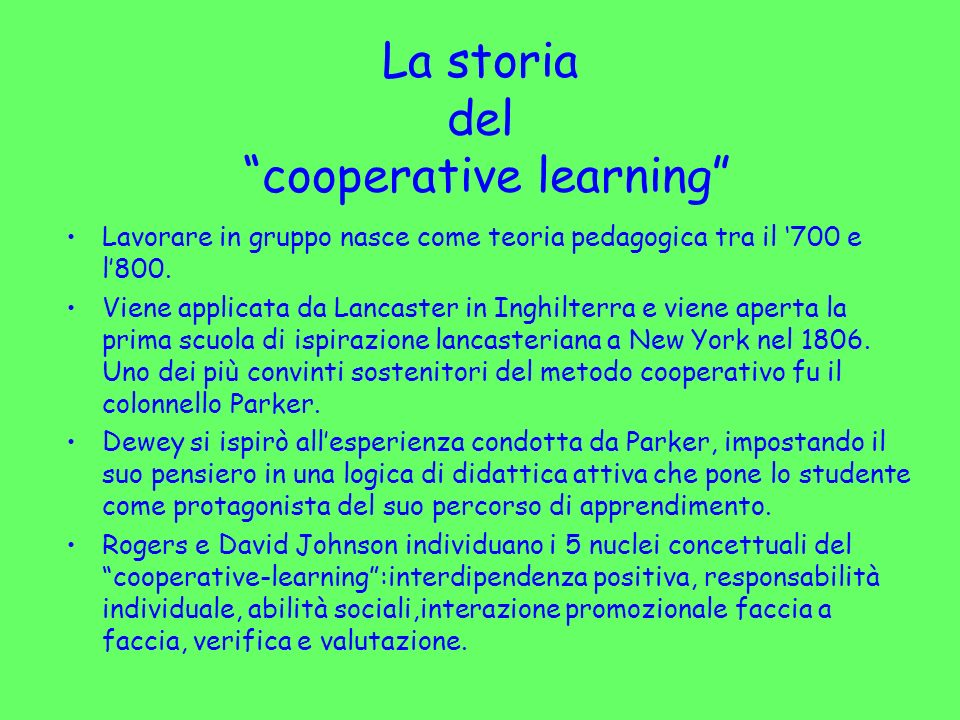 La storia del cooperative learning