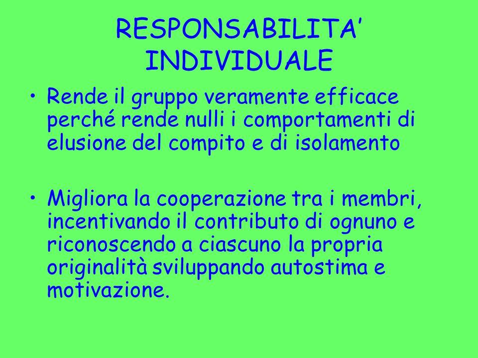 RESPONSABILITA' INDIVIDUALE
