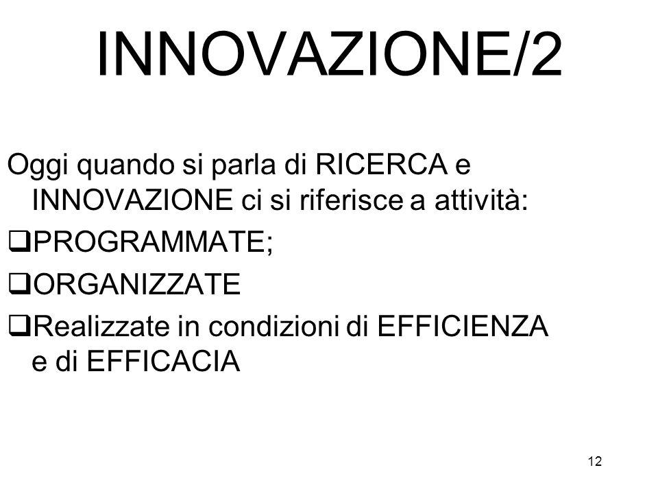 INNOVAZIONE/2 Oggi quando si parla di RICERCA e INNOVAZIONE ci si riferisce a attività: PROGRAMMATE;