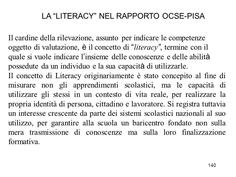 LA LITERACY NEL RAPPORTO OCSE-PISA