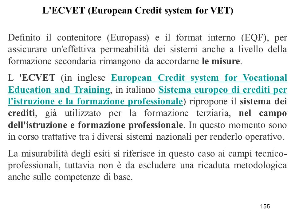 L ECVET (European Credit system for VET)