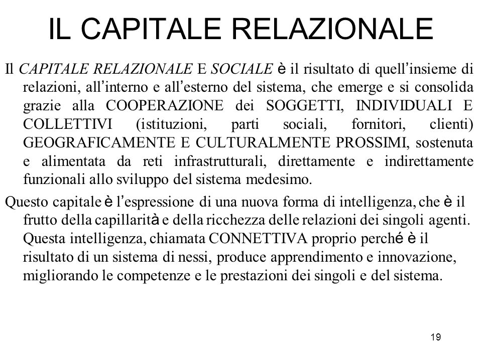 IL CAPITALE RELAZIONALE