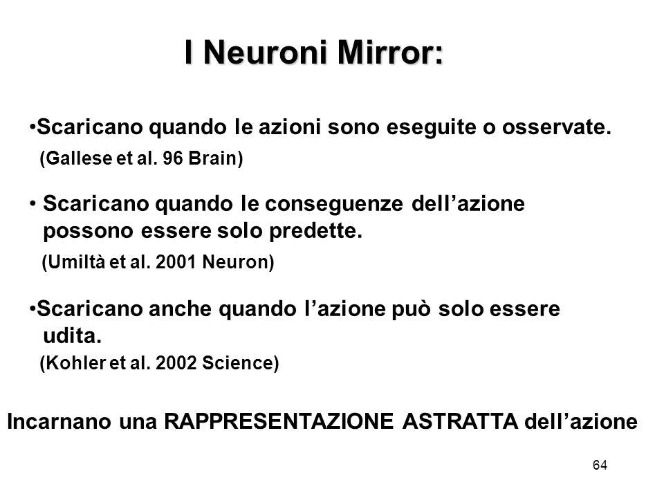 I Neuroni Mirror: Scaricano quando le azioni sono eseguite o osservate. (Gallese et al. 96 Brain)