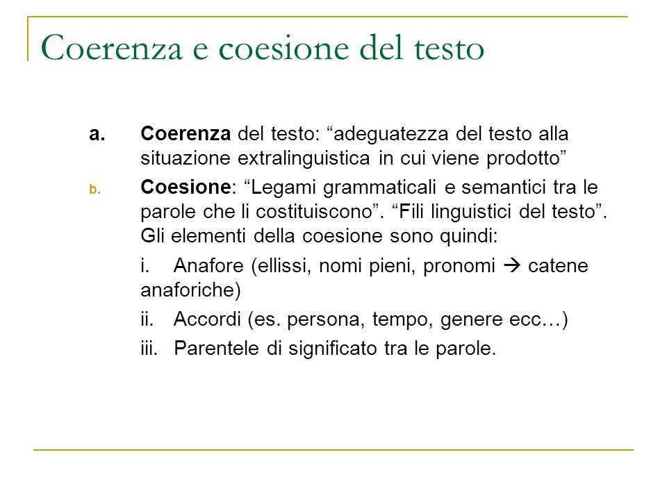 Coerenza e coesione del testo
