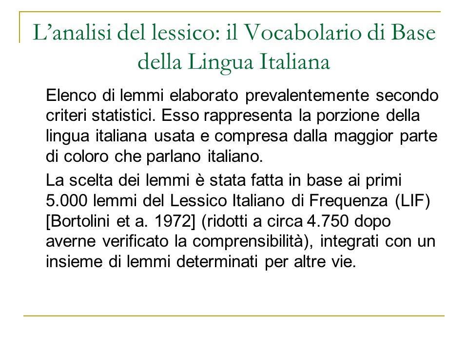 L'analisi del lessico: il Vocabolario di Base della Lingua Italiana