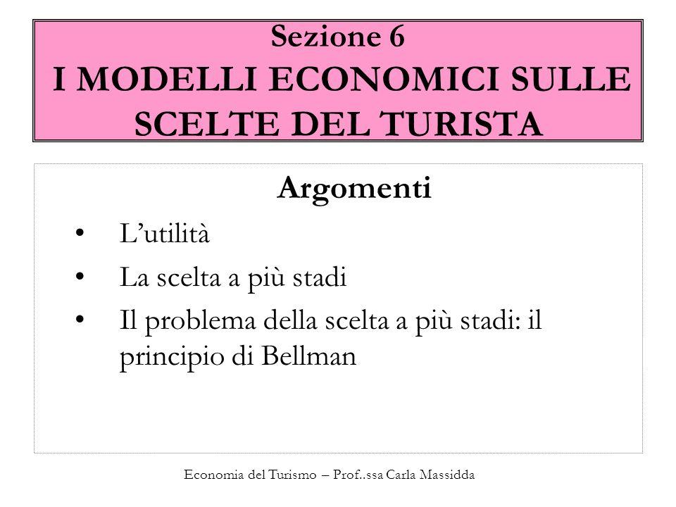 Sezione 6 I MODELLI ECONOMICI SULLE SCELTE DEL TURISTA