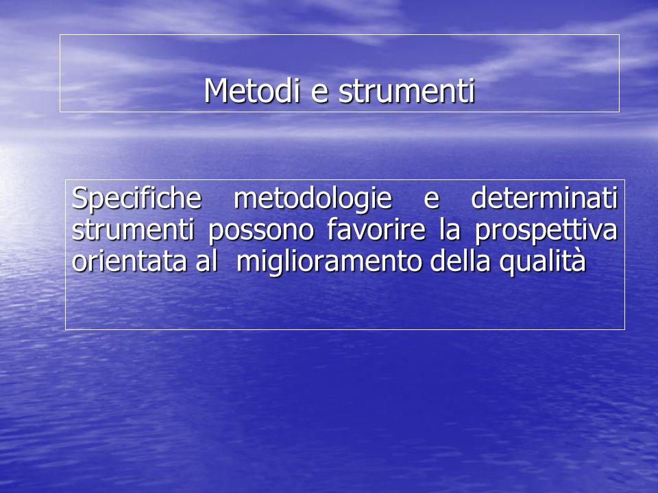 Metodi e strumenti Specifiche metodologie e determinati strumenti possono favorire la prospettiva orientata al miglioramento della qualità.