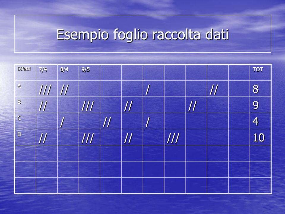 Esempio foglio raccolta dati