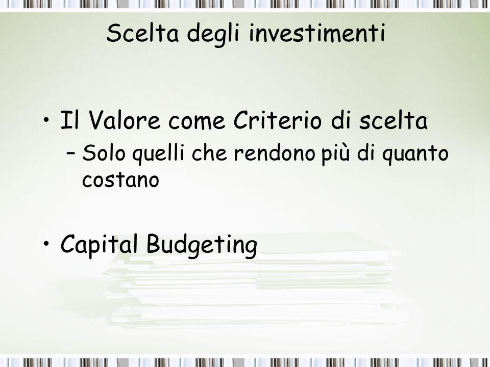 Scelta degli investimenti
