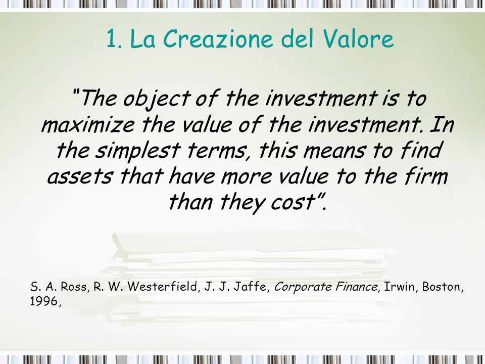 1. La Creazione del Valore