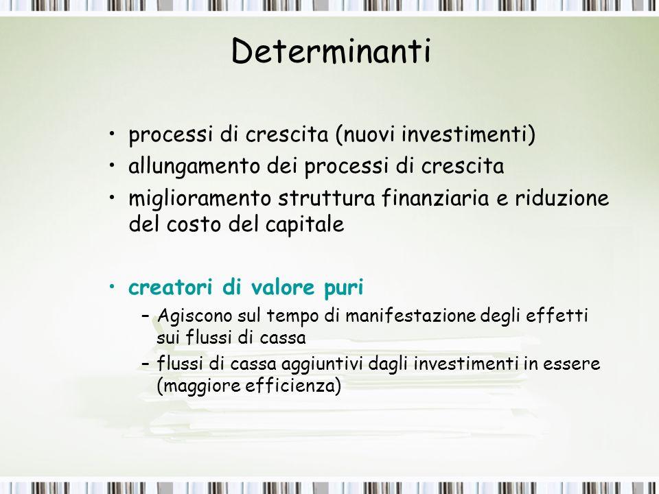 Determinanti processi di crescita (nuovi investimenti)