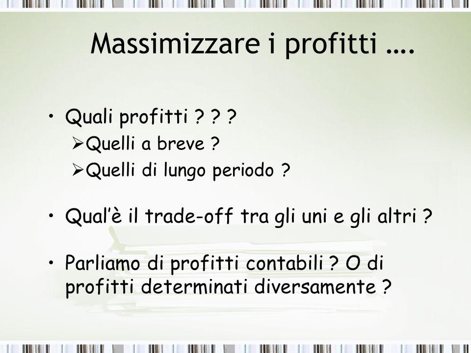 Massimizzare i profitti ….