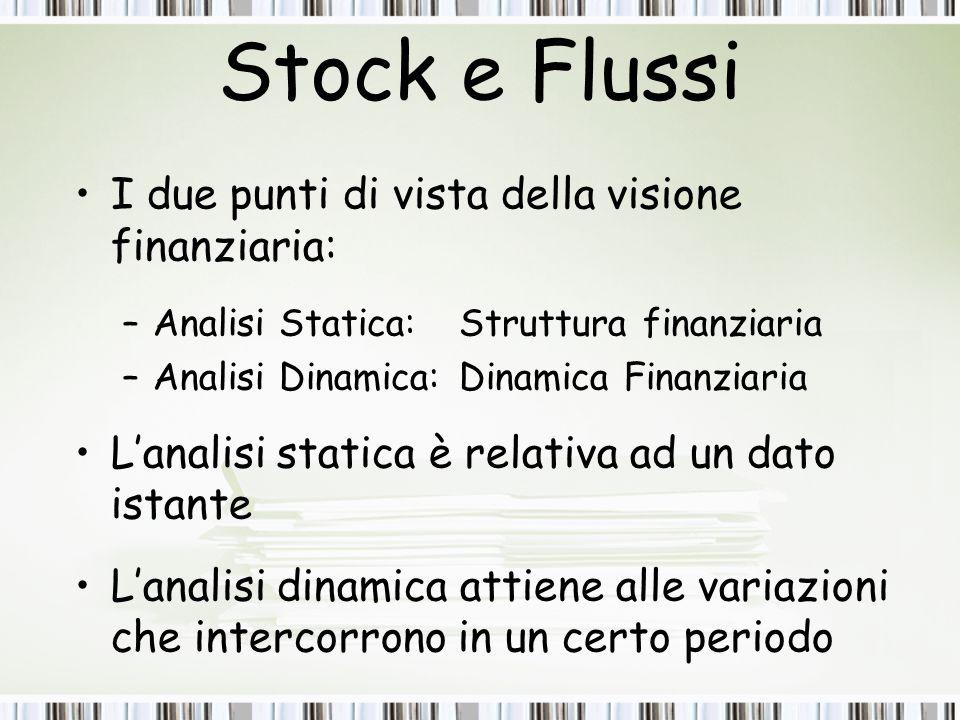 Stock e Flussi I due punti di vista della visione finanziaria: