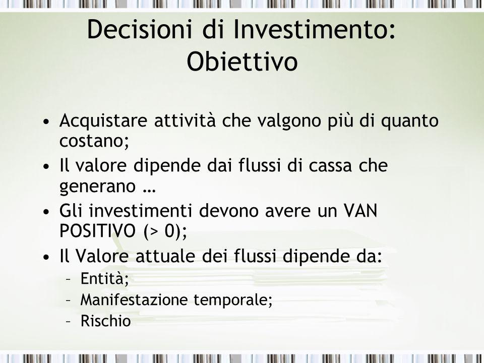 Decisioni di Investimento: Obiettivo
