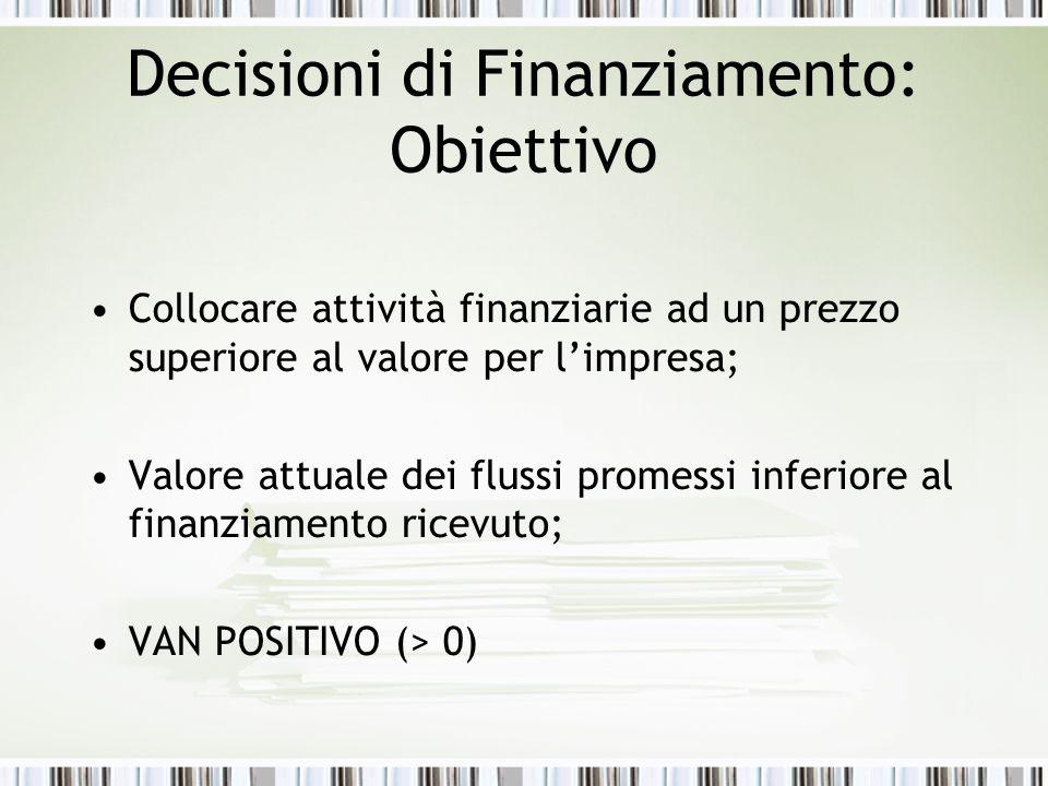 Decisioni di Finanziamento: Obiettivo