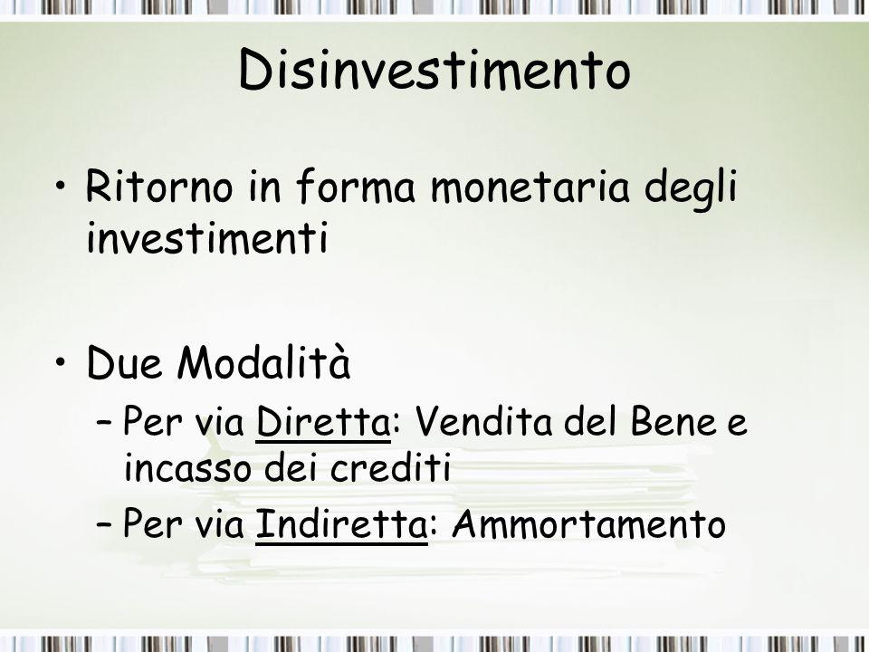 Disinvestimento Ritorno in forma monetaria degli investimenti