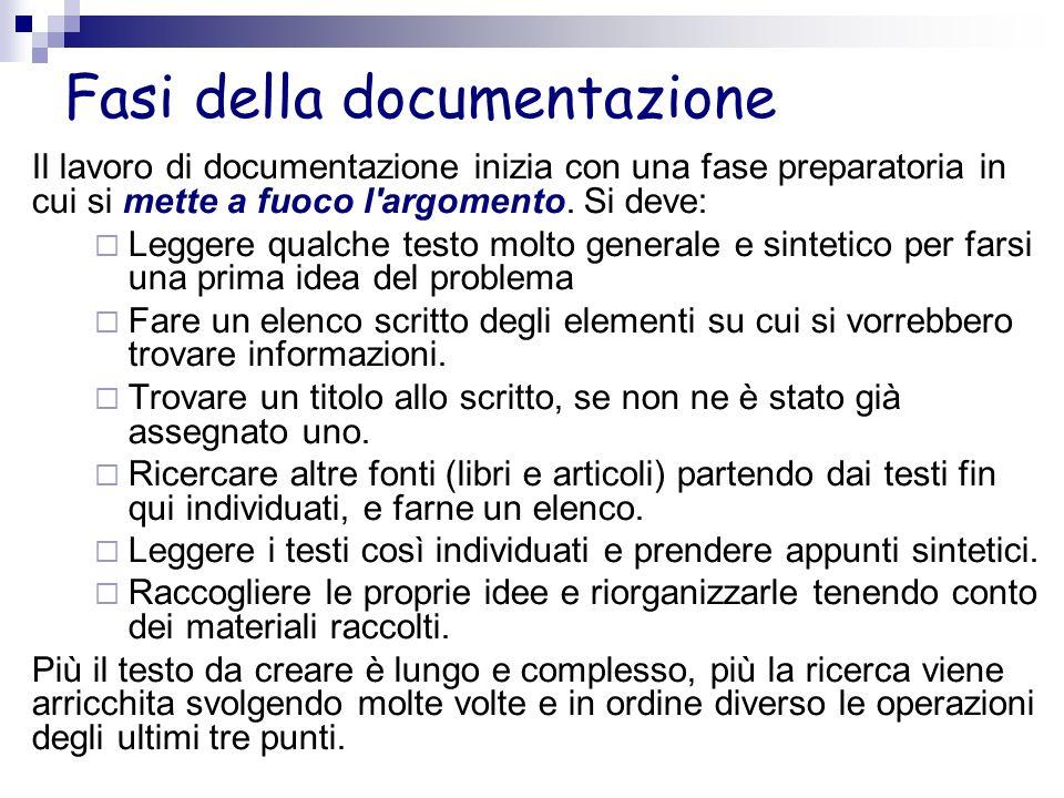 Fasi della documentazione