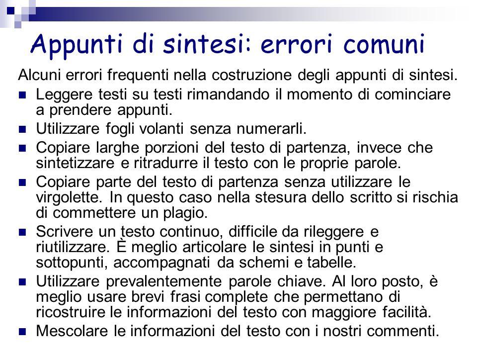 Appunti di sintesi: errori comuni