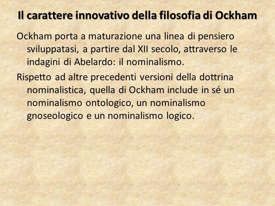 Il carattere innovativo della filosofia di Ockham