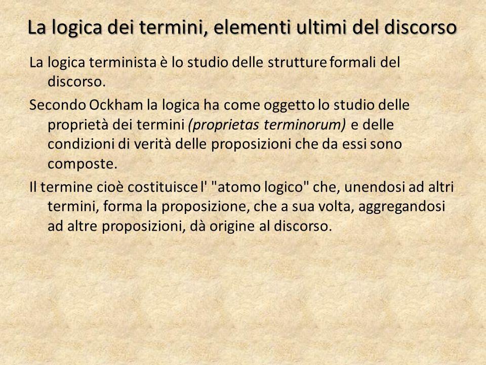 La logica dei termini, elementi ultimi del discorso