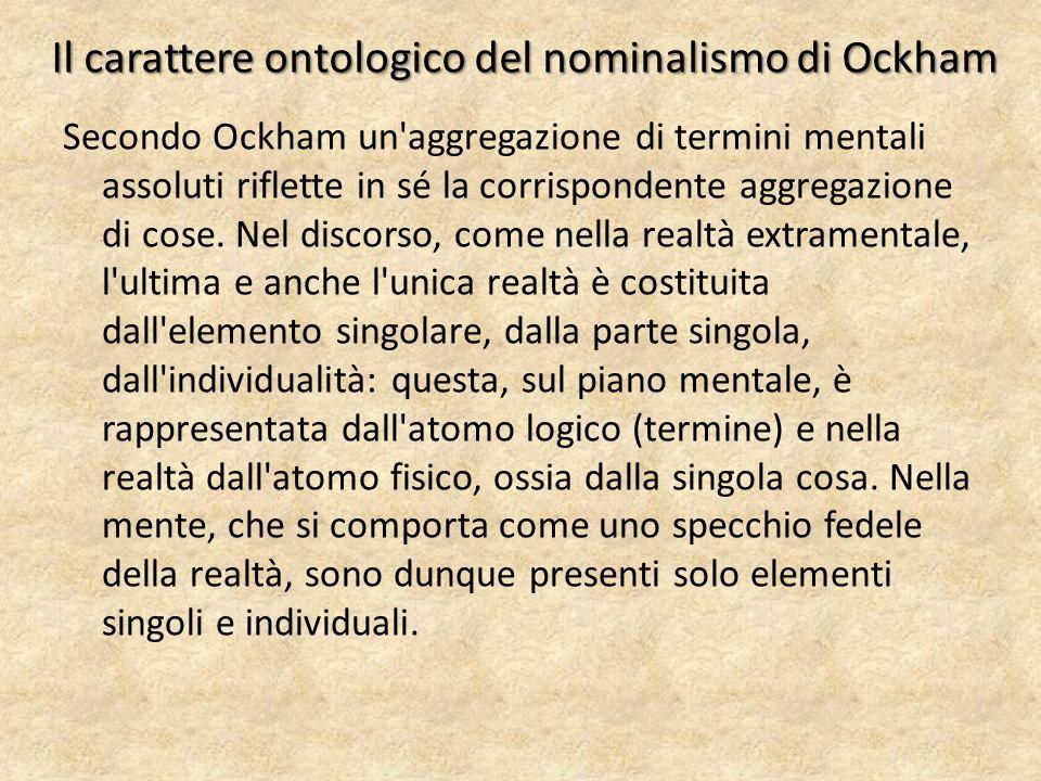 Il carattere ontologico del nominalismo di Ockham