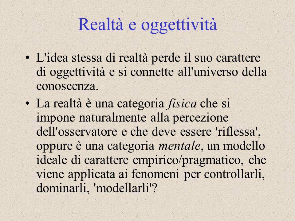Realtà e oggettività L idea stessa di realtà perde il suo carattere di oggettività e si connette all universo della conoscenza.