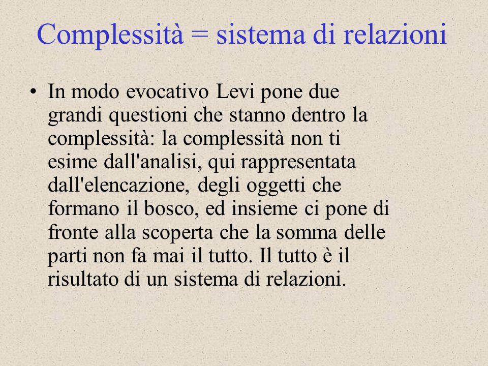 Complessità = sistema di relazioni
