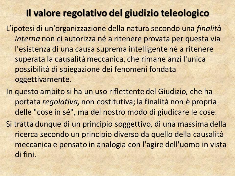 Il valore regolativo del giudizio teleologico