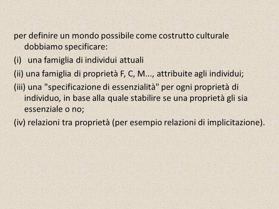 per definire un mondo possibile come costrutto culturale dobbiamo specificare: (i) una famiglia di individui attuali (ii) una famiglia di proprietà F, C, M..., attribuite agli individui; (iii) una specificazione di essenzialità per ogni proprietà di individuo, in base alla quale stabilire se una proprietà gli sia essenziale o no; (iv) relazioni tra proprietà (per esempio relazioni di implicitazione).