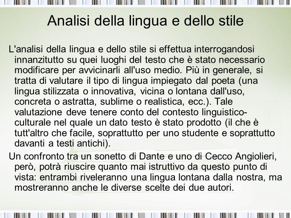 Analisi della lingua e dello stile