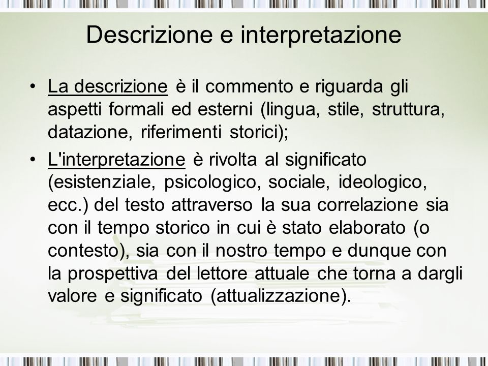 Descrizione e interpretazione