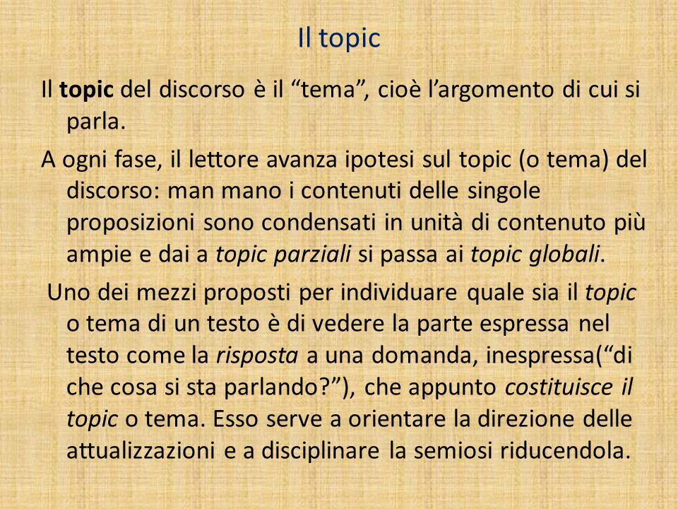 Il topic