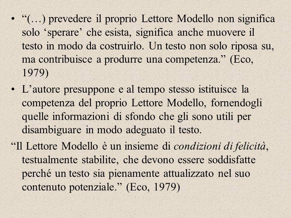 (…) prevedere il proprio Lettore Modello non significa solo 'sperare' che esista, significa anche muovere il testo in modo da costruirlo. Un testo non solo riposa su, ma contribuisce a produrre una competenza. (Eco, 1979)