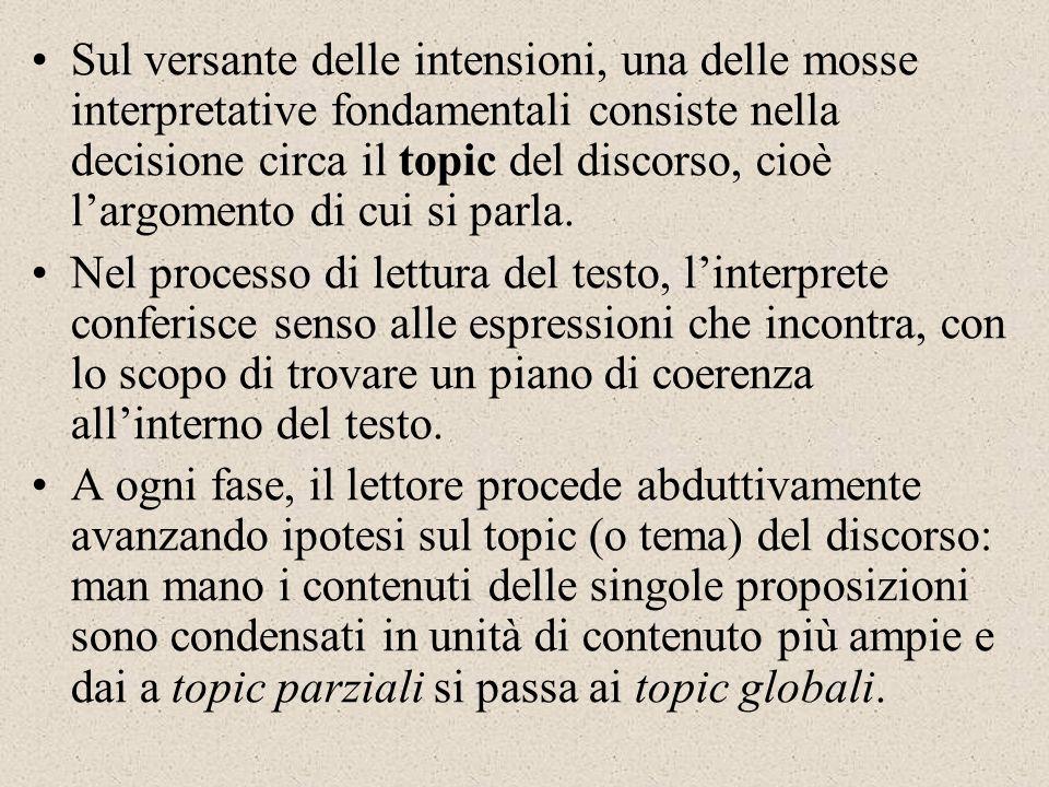 Sul versante delle intensioni, una delle mosse interpretative fondamentali consiste nella decisione circa il topic del discorso, cioè l'argomento di cui si parla.