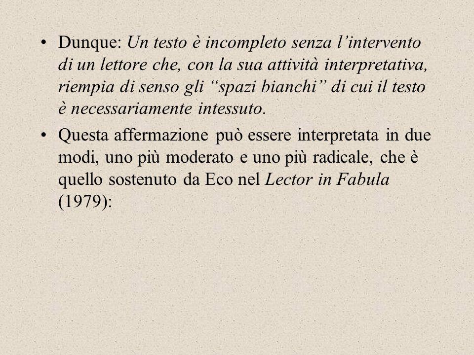 Dunque: Un testo è incompleto senza l'intervento di un lettore che, con la sua attività interpretativa, riempia di senso gli spazi bianchi di cui il testo è necessariamente intessuto.