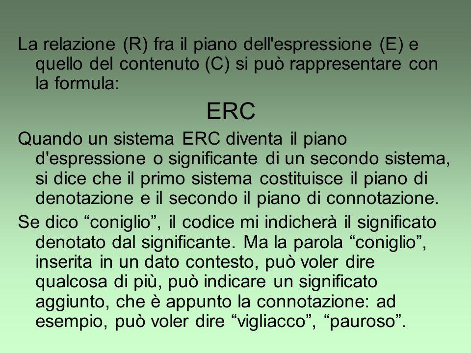 La relazione (R) fra il piano dell espressione (E) e quello del contenuto (C) si può rappresentare con la formula: