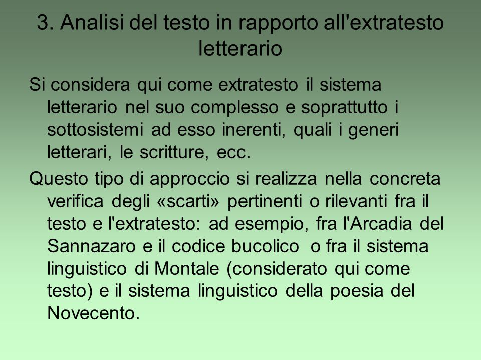 3. Analisi del testo in rapporto all extratesto letterario
